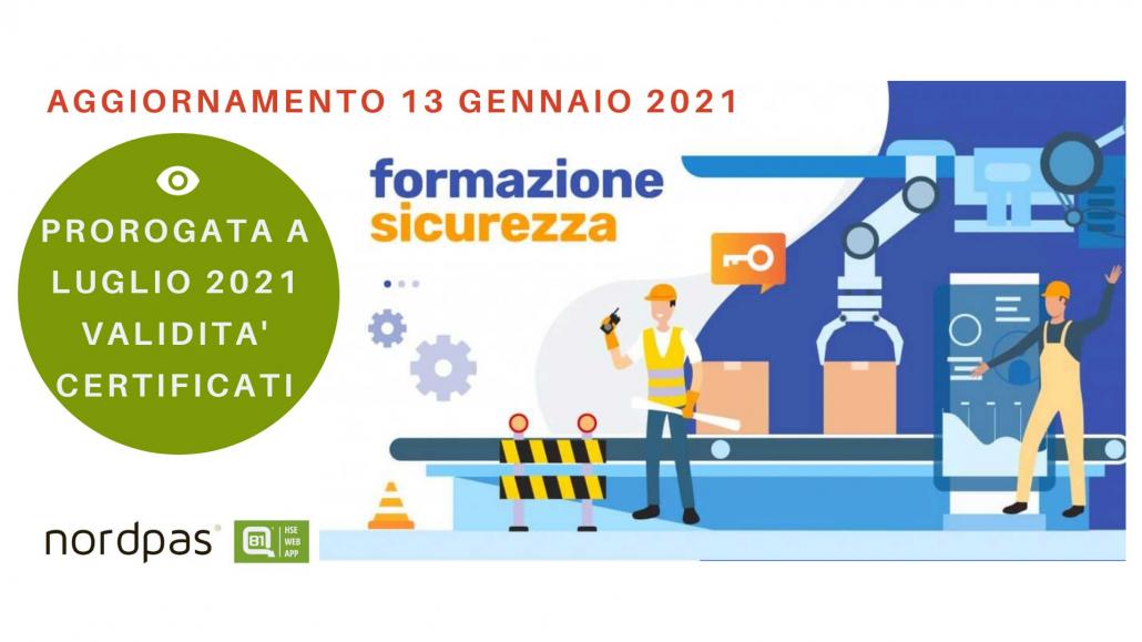 validità certificati formazione salute e sicurezza 2021 covid
